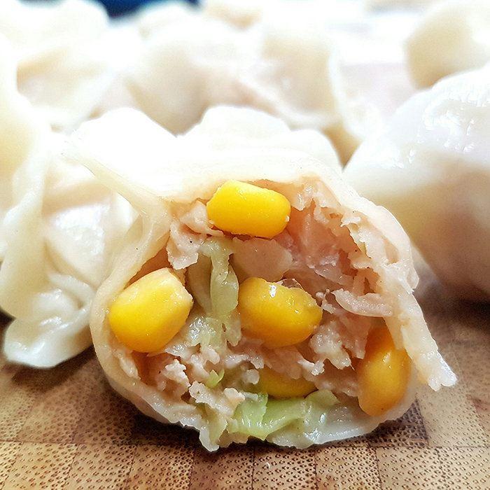 手杆皮玉米猪肉百合女水饺视频图片