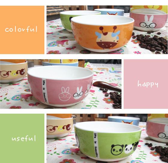 卡娃依水果,动物陶瓷碗,增加宝贝的用餐乐趣,让吃饭变成一件快乐的