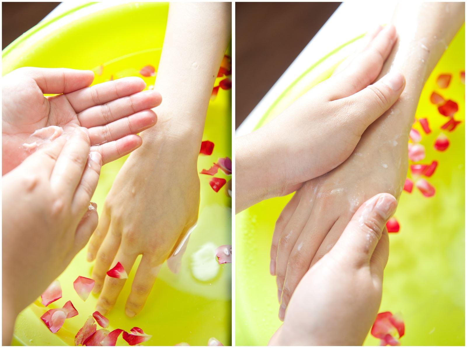 美甲步骤:手部消毒去除指甲油手部沐浴高效嫩白去角质至