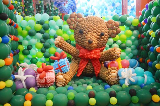 泰迪气球造型步骤