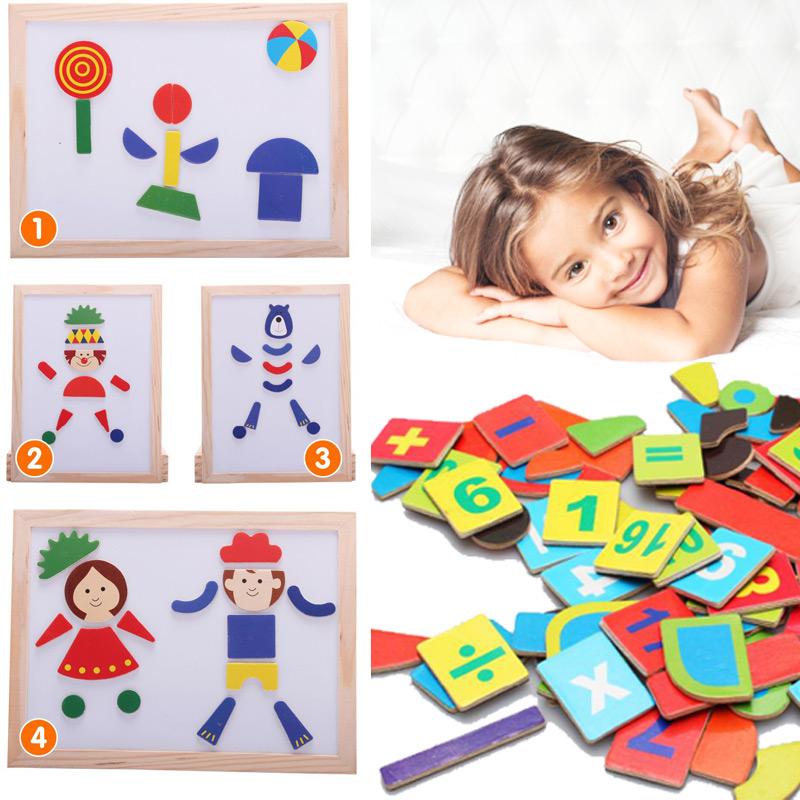 带有磁性各种几何图形拼图,可以让宝贝在白板上拼贴出各种图型,让孩子