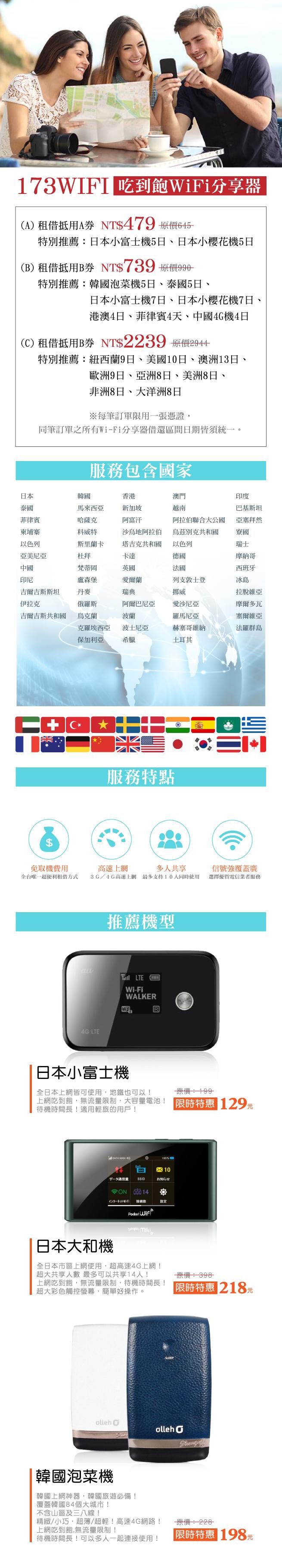 173WIFI/旅遊/出國/wifi/上網/吃到飽/日本/韓國/歐洲/法國/義大利/美國/澳洲/香港/大陸/泰國/峇里島/長灘島/國外旅行/自由行/英國