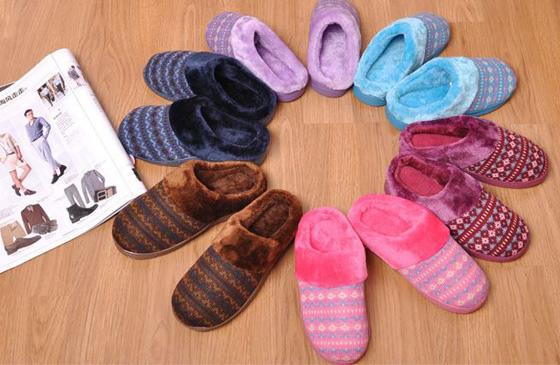 韩版针织珊瑚绒户外室内两用拖鞋