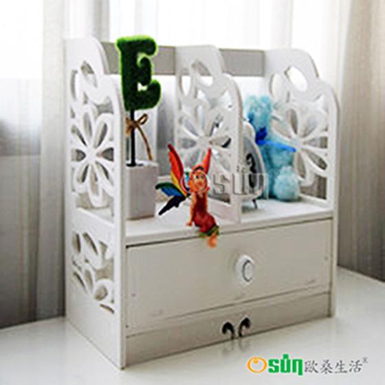 木塑板欧式白色雕花樱花书架