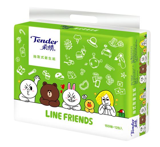 衛生紙/LINE/柔情/抽取式
