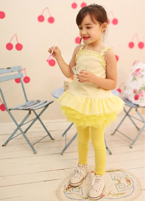 日系儿童公主六层纱裙裤系列-超膨纱裙!沿著腰际如花!
