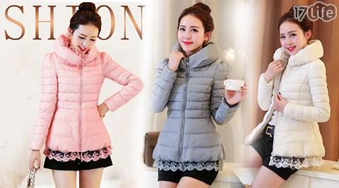 韓版修身顯瘦蕾絲邊加厚保暖短款外套