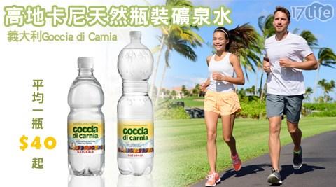 只要45元起即可購得【義大利Goccia di Carnia】原價最高3120元高地卡尼天然瓶裝礦泉水:(A)1瓶/48瓶(500ml/瓶)/(B)1瓶/12瓶(1500ml/瓶)。