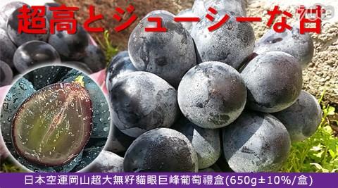 平均每盒最低只要499元起(含運)即可購得日本空運岡山超大無籽貓眼巨峰葡萄禮盒1盒/2盒/4盒/8盒(650g±10%/盒)。