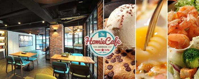 Homie Cafe-平假日餐點折抵券 落地窗光納進戶外庭園綠蔭,與好友齊聚的溫馨氛圍,自在品味隨意搭,共享美國經典佳餚