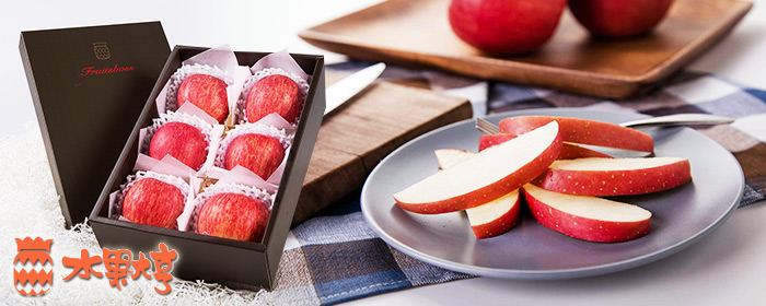 水果大亨-日本套袋富士蘋果(6粒) 日本青森縣產陽光富士蘋果,大自然給予的香甜恩澤,鮮紅飽滿清脆,洋溢新鮮幸福果香!