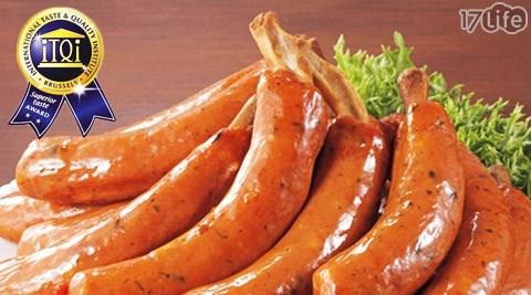 平均每支最低只要26元起(含運)即可享有【台畜】米其林主廚推薦帶骨德式香腸20支/30支/60支/150支,規格:75g±10%/支,5支為一包裝。