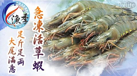 平均每隻最低只要22元起(2盒免運)即可享有【漁季】急凍活草蝦12隻/60隻/96隻/120隻(12隻/盒)。