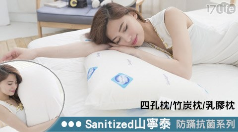 Sanitized/山寧泰/防蹣/抗菌/系列/四孔枕/竹炭枕/乳膠枕