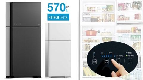 HITACHI 日立-直流變頻570公升琉基隆 電影璃時尚二門電冰箱(RG599)1台