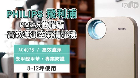 PHILIPS 飛利浦-PM2.5微護盾高效濾淨空氣清淨機(AC-4076)1台