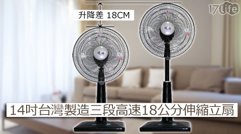 台灣製造/統聯/三段高速/18公分/伸縮立扇/TL/1421/立扇/電扇/電風扇