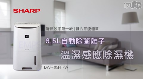 【SHARP夏普】/6.5L/自動除菌離子/溫濕感應/除濕機/DW-F65HT-W
