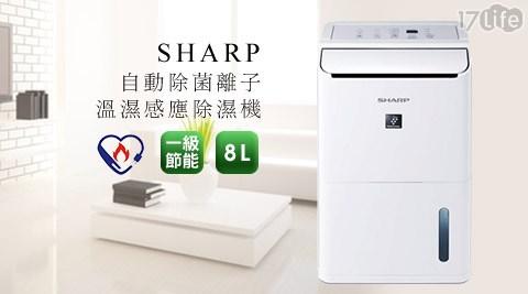 夏普SHARP-一級節能自動除菌離子8公马可波罗 酒店升清淨除濕機8L(DW-D8HT-W)1台