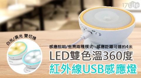 LED雙色溫360度紅外線USB感應燈