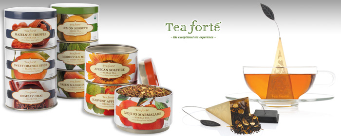 Tea forte- 23K鍍金金字塔型茶包濾茶器&原葉罐裝茶 茶品組合 細緻風格原葉好茶及典雅金字塔濾茶器,沏出輕揚花香與甘甜茶湯,享受屬於您的品茶時尚
