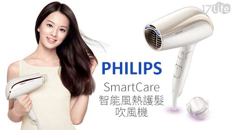 只要1,299元(含運)即可享有【PHILIPS飛利浦】原價1,890元SmartCare智能風熱護髮吹風機(BHC201)1台,享2年保固。