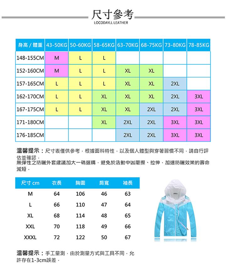 超輕薄防曬保暖連帽外套(情侶穿搭)尺寸參考表大尺碼可