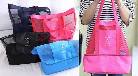 2合1手提拉鍊雙層保冰保溫野餐旅行袋/旅行袋/野餐/保溫
