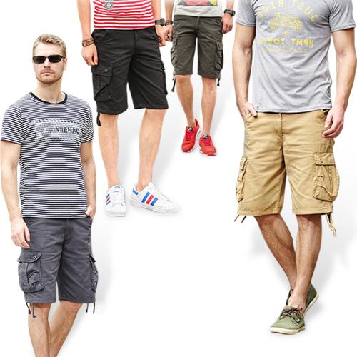 耐磨美式多口袋素色工作褲短褲 1入/組