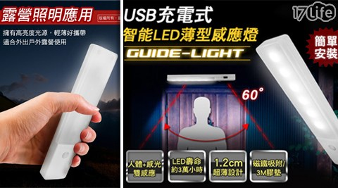 USB充電式/智能LED/薄型人體感應燈