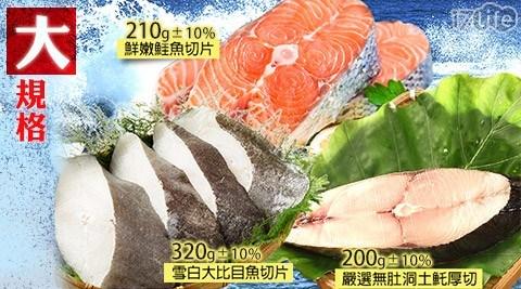 【優食網】大規格扁鱈(大比目魚)/鮭魚/土魠(任選)