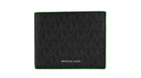 MICHAEL KORS COOPER滿版防刮對開短夾-綠