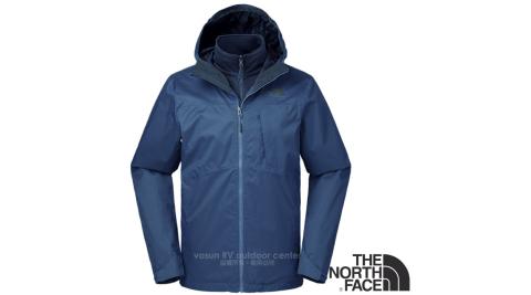 【美國 The North Face】男新款 防風防水透氣耐磨連帽兩件式外套.夾克/風雨衣/內件刷毛/2UC9 藍 N
