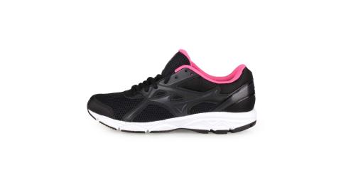 MIZUNO MAXIMIZER 22 女慢跑鞋-WIDE-寬楦 路跑 美津濃 黑粉紅@K1GA200103@