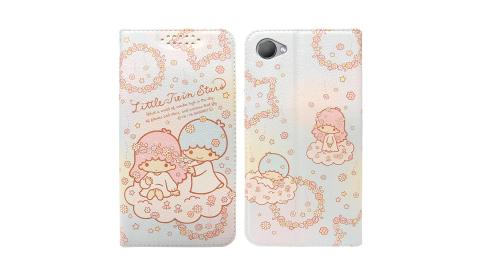 三麗鷗授權Kikilala 雙子星 HTC Desire 12 粉嫩系列彩繪磁力皮套(花圈) 有吊飾孔