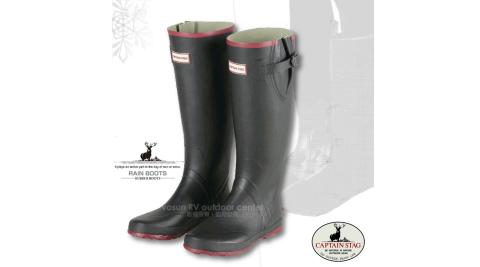 【日本鹿牌 CAPTAIN STAG】雨神 超輕量橡膠可調式防水雨鞋(舒適內裡)健行安全雨靴_黑 UX-650/651/652