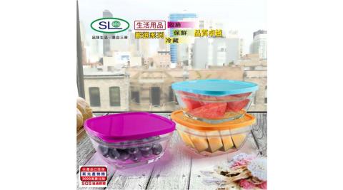 台灣製 方型3色繽紛玻璃保鮮禮盒組 R-1600-3超值二入組