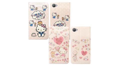 三麗鷗授權 Hello Kitty貓 HTC Desire 12 粉嫩系列彩繪磁力皮套 有吊飾孔