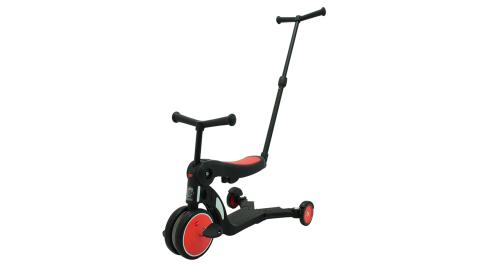 【BabyBabe】三合一平衡三輪車/滑步車/滑板車-紅色 ( 附推把 )