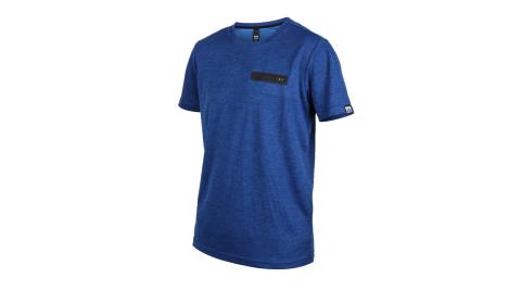 FIRESTAR 男吸濕排汗短袖圓領T恤-慢跑 路跑 麻花深藍@D9233-97@