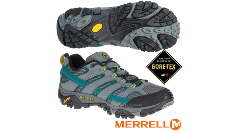 【美國 MERRELL】男新款 Moab 2 GORE-TEX 多功能防水透氣登山健行鞋/Vibram黃金大底/ML06043 灰/藍綠