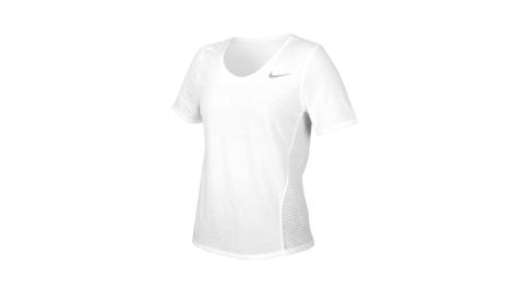 NIKE 女短袖T恤-吸濕排汗 運動 上衣 慢跑 路跑 拼接網布 白銀@CU3235-100@