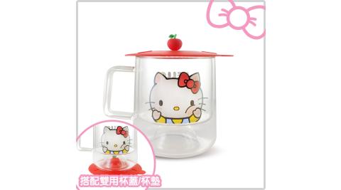 Hello Kitty 隔熱雙層玻璃杯組 蘋果紅-含造型雙用杯蓋/杯墊 (KT-DG01)