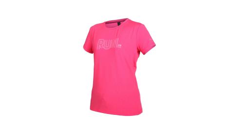 FIRESTAR 女彈性印花圓領短袖T恤-吸濕排汗 慢跑 路跑 上衣 粉紅@DL062-48@
