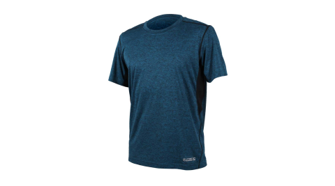 FIRESTAR 男吸排圓領短袖-短T T恤 慢跑 路跑 藍灰@D7632-98@