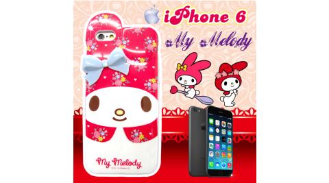 my melody正版授權 IPHONE 6 4.7吋 立體蝴蝶結保護殼 背蓋(花朵美樂蒂)