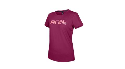 FIRESTAR 女款彈性印花圓領短袖T恤-吸濕排汗 慢跑 路跑 上衣 深桃紅粉@DL063-47@