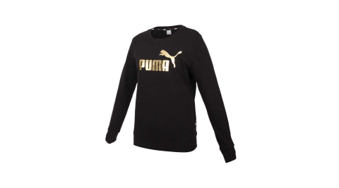 PUMA 女基本系列長袖圓領T恤-歐規 慢跑 圈毛 休閒 上衣 黑金@58689401@