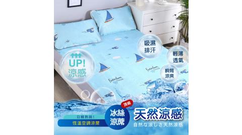 【在地人】全新頂級超涼爽冰絲涼蓆組(尺寸雙人加大:床墊x1+枕套x2/組多款任選)