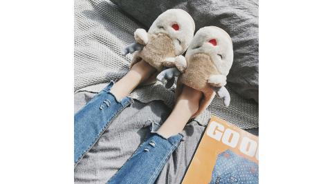 立體麋鹿棉拖鞋 女士/兒童 家居/室外 保暖毛絨拖鞋 (金黃色款)